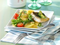 Potato and Asparagus Salad with Perch Fillet recipe