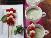 Potato and Basil Soup with Cherry Tomatoes and Mozzarella Skewers recipe