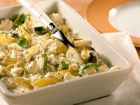 Potato and Brussel Sprouts Gratin with Goat Cheese recipe