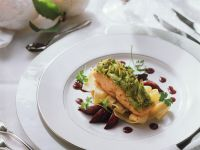 Potato and Cabbage Crusted Salmon with Pappardelle recipe