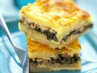 Potato and Ham Gratin with Spinach recipe