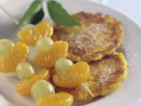 Potato and Pumpkin Pancakes with Fruit Skewers recipe