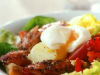 Potato and Romaine Salad with Mackerel and Poached Eggs recipe