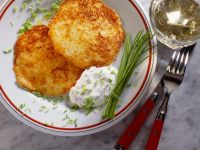 Potato, Apple and Onion Fritters with Chive Cream recipe