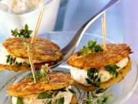 Potato Cakes with Herbed Cheese recipe