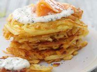 Potato Cakes with Salmon and Chive Cream recipe