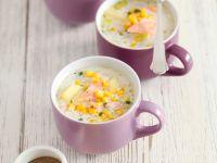 Potato Corn Soup with Salmon recipe