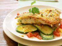 Potato-Crusted Pollock with Zucchini and Tomatoes recipe