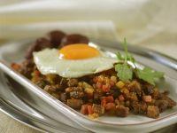 Potato Moose Hash with Fried Eggs (pyttipanna) recipe