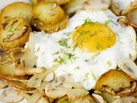 Potato, Mushroom and Fennel Hash with Fried Eggs recipe