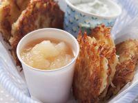 Potato Pancakes with Applesauce and Herb Dip recipe