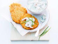 Potato Pancakes with Yogurt-Shrimp Sauce recipe
