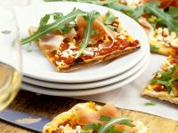 Potato Pizza with Feta Cheese, Arugula and Ham recipe