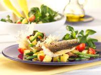 Potato Salad in Parmesan Basket with Fried Sea Bream recipe