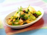 Potato Salad with Fish, Dried Tomatoes and Arugula recipe