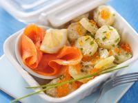 Potato Salad with Smoked Salmon and Caviar recipe