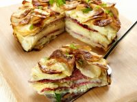 Onion and Salami Potato Cake recipe