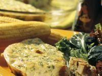 Potato Salami Frittata with Salad and Corn recipe