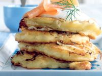 Potato-Sauerkraut Pancakes with Creme Fraiche and Smoked Salmon recipe