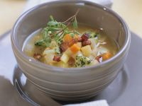 Potato Soup with Herb Butter recipe