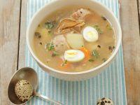 Potato Soup with Quail Egg recipe