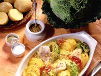 Potatoes Au Gratin with Mustard Pollock and Savoy recipe