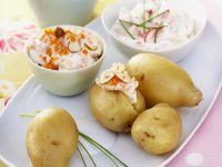 Potatoes with Three Dips recipe
