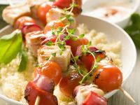 Poultry Kebabs over Cornmeal recipe