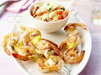 Prawn Kebabs with Grain Salad recipe