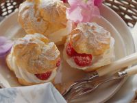 Profiteroles with Whipped Cream and Raspberries recipe