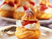 Profiteroles with Whipped Cream and Strawberries recipe