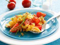 Prosciutto Scrambled Eggs with Tomatoes recipe