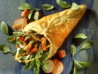 Puff Pastry Cones Filled with Salad recipe