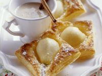 Puff Pastry Pear Tartets with Cinnamon Sabayon recipe