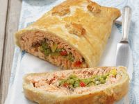 Puff Pastry Pie with Salmon and Peas (Kulebiak) recipe