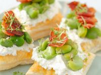 Puff Pastry Tarts with Ricotta and Fava Bean Salad recipe