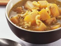 Pumpkin Soup with Ground Beef and Noodles recipe