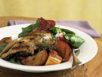 Quail on Spinach and Radicchio Salad recipe