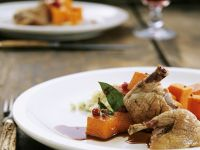 Quail with Pumpkin and Cranberry-chocolate Sauce recipe