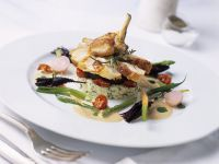 Quail with Risotto and Vegetables recipe