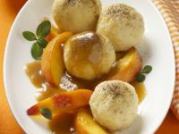 Quark Dumplings with Peach Compote recipe