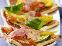 Quick Mini Pizzas with Ham and Vegetables recipe