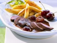 Rabbit with Cherry Sauce and Noodles recipe