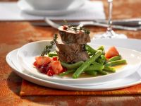 Rack of Venison with Pears and Green Beans recipe