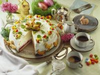 Raspberry and Cream Layer Cake with Spring Figures recipe