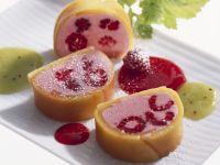 Raspberry and Mango Dessert with Fruit Sauce recipe