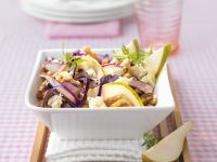 Red Cabbage and Pear Salad with Lentils recipe
