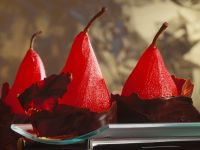 Red Wine Poached Pears with Chocolate recipe