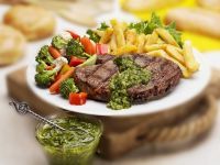 Steak with Pesto and Fries recipe