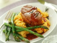 Rib-eyes with Mash and Veg Spears recipe
